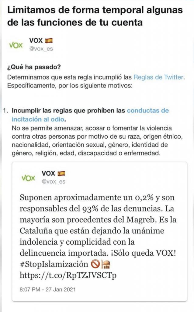 Imatge de la censura publicada al Twitter madrid.vox